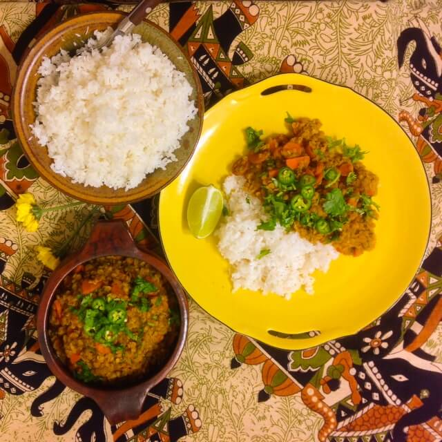 Red Lentil and Carrot Curry with Coconut Rice